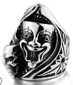 R158 Stainless Steel Joker Face Skull Biker Ring   Rings