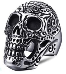 R160 Stainless Steel Large Sugar Cane Skull Biker Ring   Rings