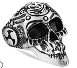 R164 Stainless Steel Laid Back Biker Ring | Rings