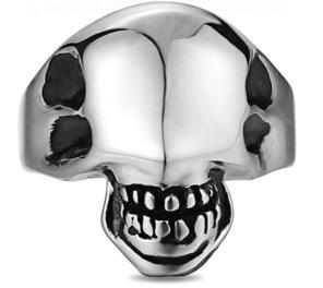 R171 Stainless Steel Alien Face Biker Ring | Rings