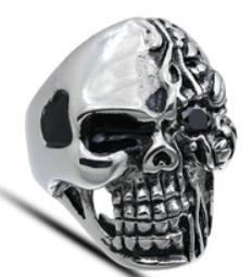 R176 Stainless Steel Half Face Biker Ring | Rings