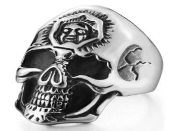 R182 Stainless Steel 3rd Eye Skull Biker Ring | Rings