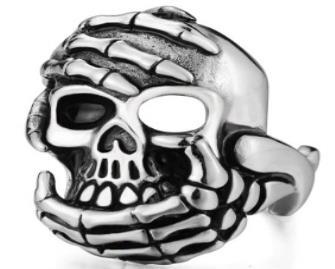 R183 Stainless Steel Hand Held Skull Biker Ring   Rings