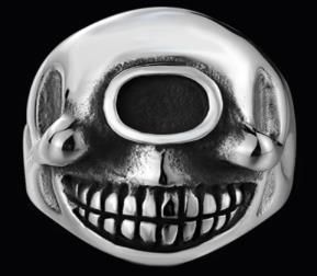 R185 Stainless Steel Smile Eyes Biker Ring   Rings