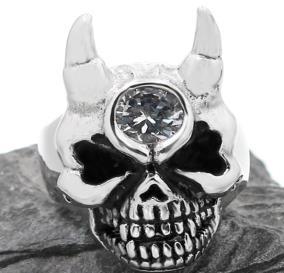 R190 Stainless Steel Diamond Eye Skull Face Biker Ring | Rings