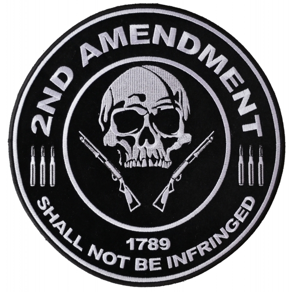 PL3565 2nd Amendment Shall Not Be Infringed Skull 1789 Large Embroidered Iron on | Patches