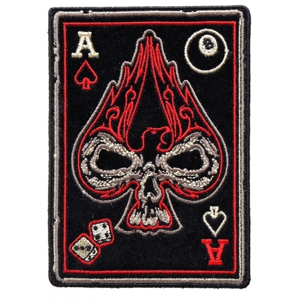 P4259 Ace Of Spades Skull Small Biker Patch | Patches