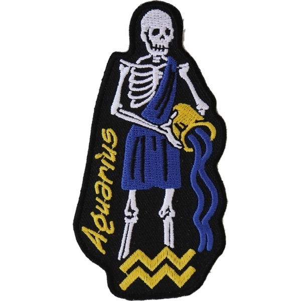 P5480 Aquarius Skull Zodiac Sign Patch | Patches
