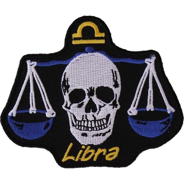 P5474 Libra Skull Zodiac Sign Patch | Patches