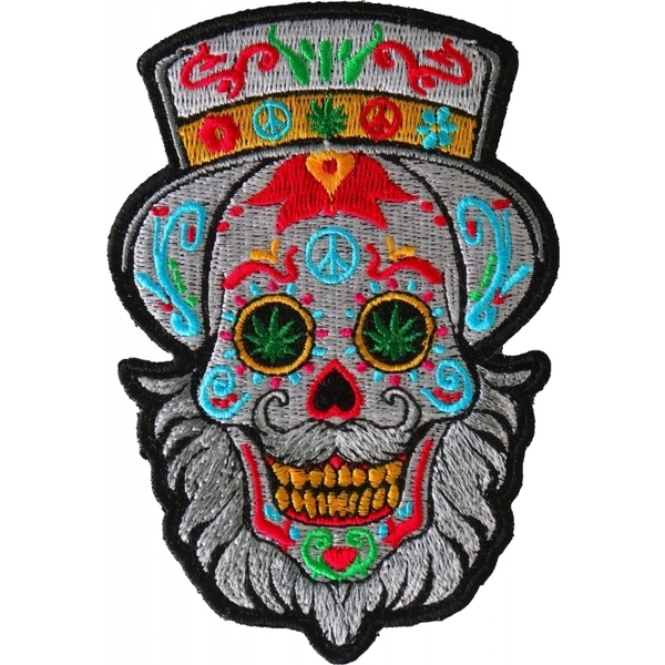 P6705 Bearded Sugar skull Small Iron on Patch | Patches