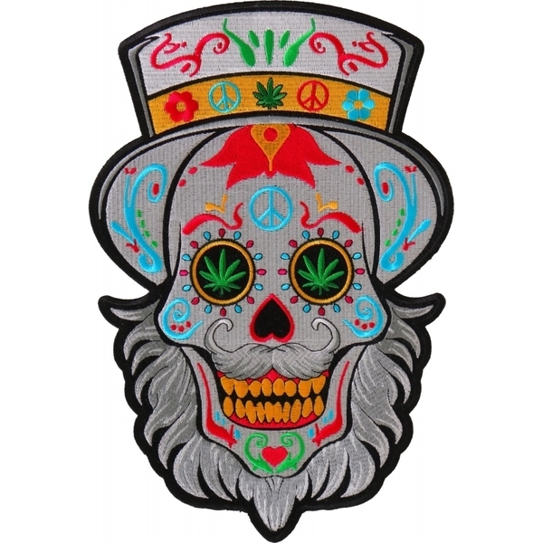 PL6704 Sugar Skull with Beard Large Back Patch | Patches