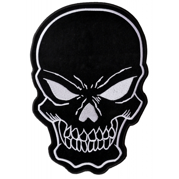 PL3422 Black Skull Embroidered Iron on Patch | Patches
