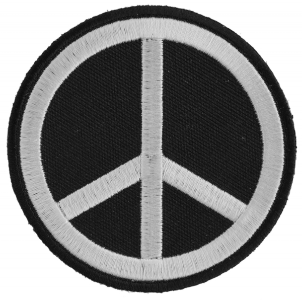 P3488 Black White Peace Sign Patch | Patches