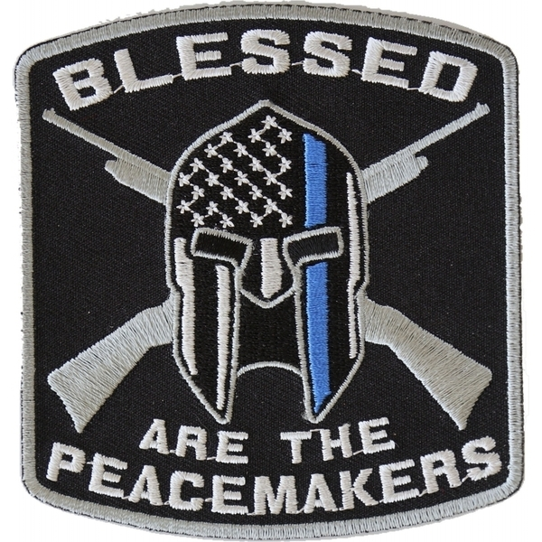 P4622 Blessed Are The Peacemakers Thin Blue Line Patch For Law Enforcement | Patches