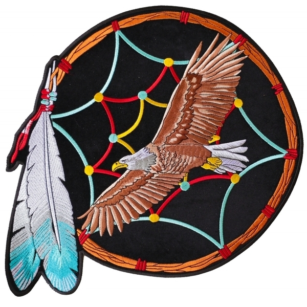 PL3533 Dreamcatcher Eagle Feather Embroidered Iron on Patch | Patches
