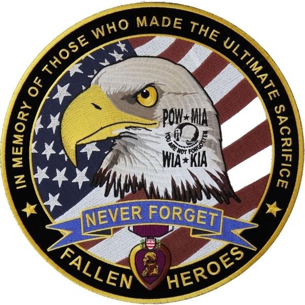 PL6566 Fallen Heroes POW MIA WIA KIA Memorial Large Iron on Patch | Patches