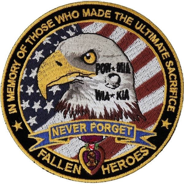 P6568 Fallen Heroes POW MIA WIA KIA Memorial Patch | Patches