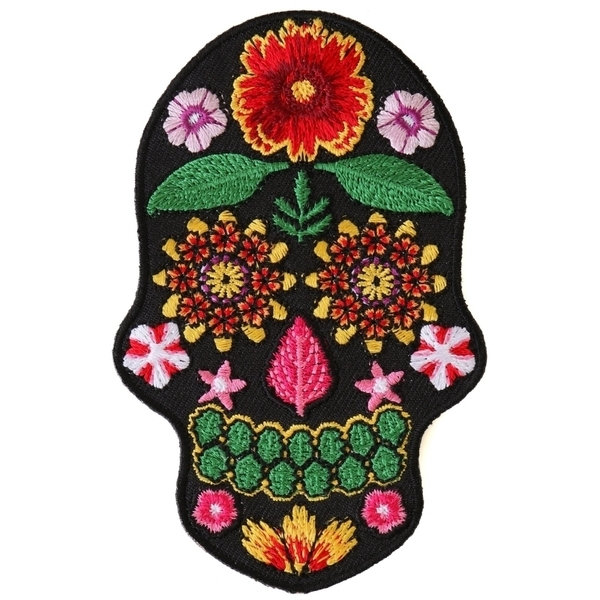 P6157 Flower Skull Black Patch | Patches