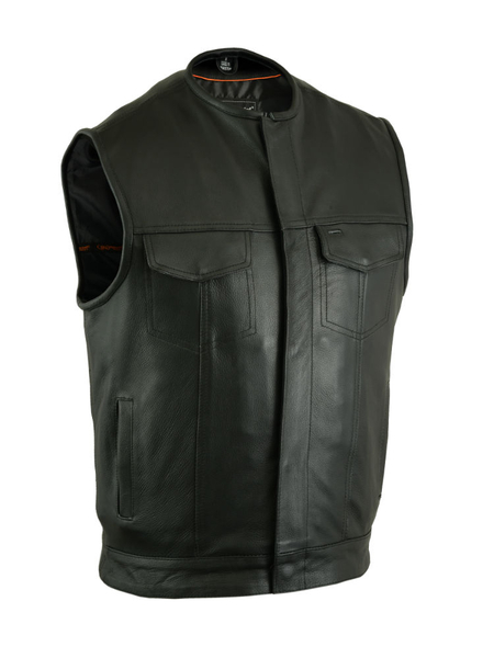 Men's Black Leather Biker Vest | Concealed Snaps, No Collar
