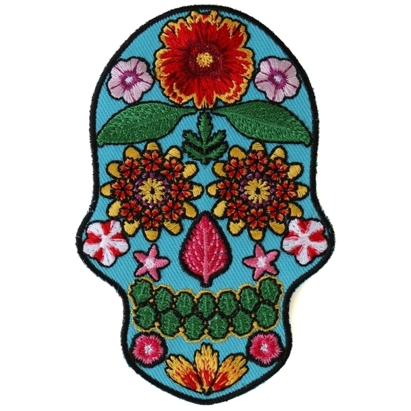P6152 Flower Skull Blue Patch | Patches