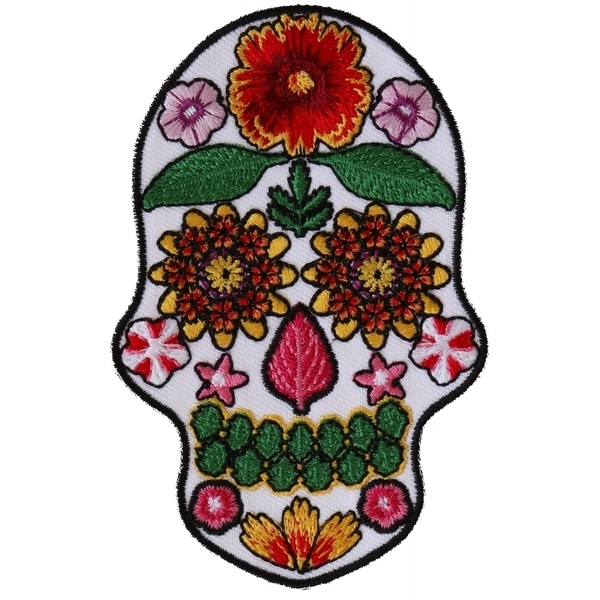 P6154 Flower Skull White Patch | Patches