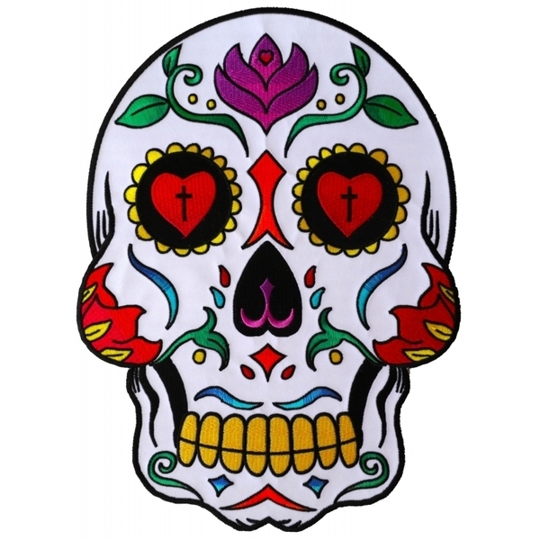 PL5987 Sugar Skull Embroidered Iron on Patch | Patches