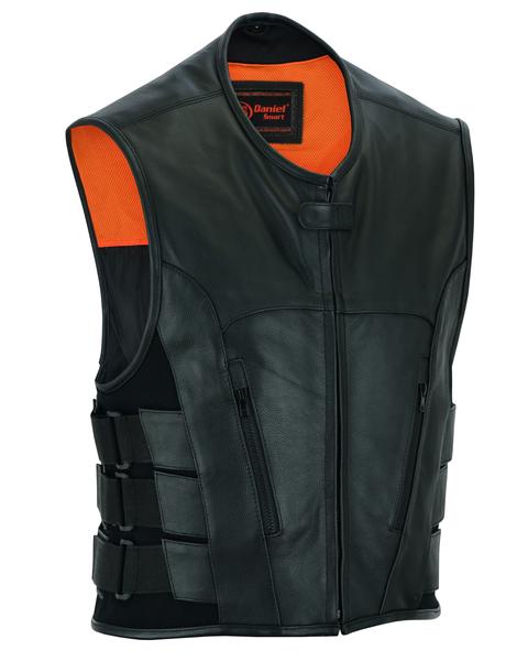Wholesale Men's Leather Vests | DS007 Men's Updated Club Vest (Premium Milled Cowhide) | Daniel Smart Manufacturing