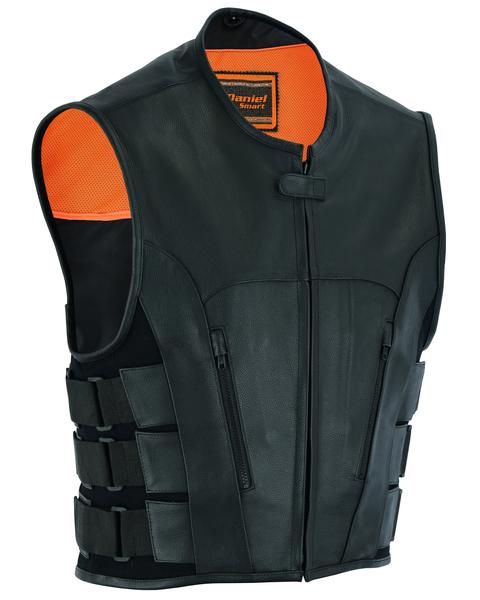 Wholesale Men's Leather Vests   DS007 Men's Updated Club Vest (Premium Milled Cowhide)   Daniel Smart Manufacturing