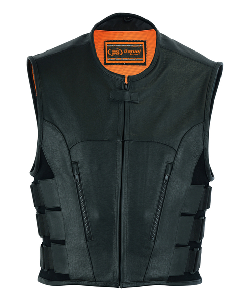 Wholesale Men's Leather Vests | DS007 Men's Updated Club Vest (Premium Milled Cowhide) | Daniel Smart Manufacturing