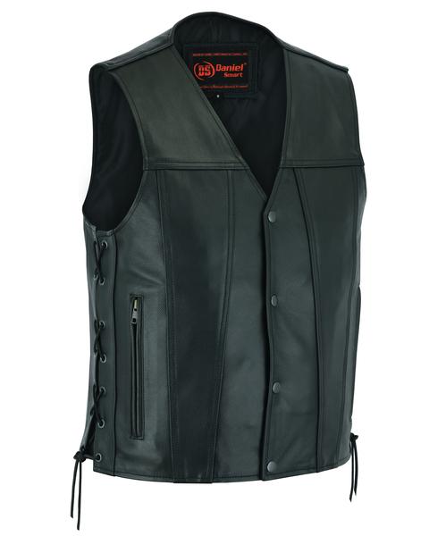 Wholesale Men's Leather Vests | DS105 Men's Single Back Panel Vest | Daniel Smart Manufacturing