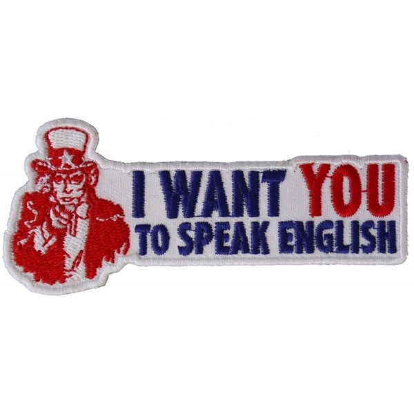 P2960 I Want You To Speak English Uncle Sam Patriotic Iron on Patch | Patches