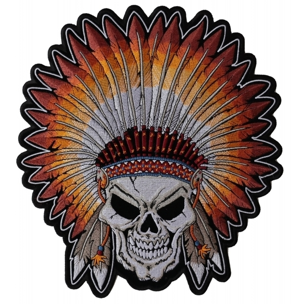 PL4666 Indian Headdress Skull Embroidered Iron on Patch   Patches