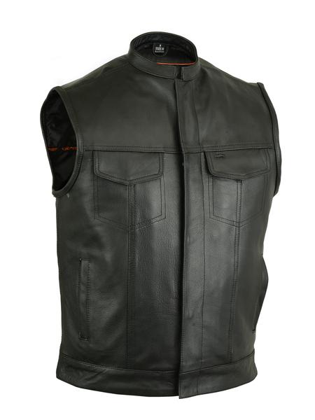 Men's Leather Biker Vest | Scoop Collar And Heavy Duty Snaps
