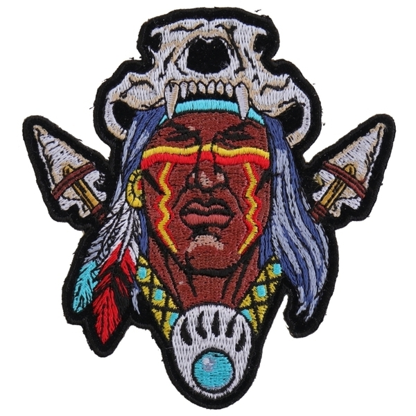 P4614 Indian Skull Head Dress Small Patch | Patches