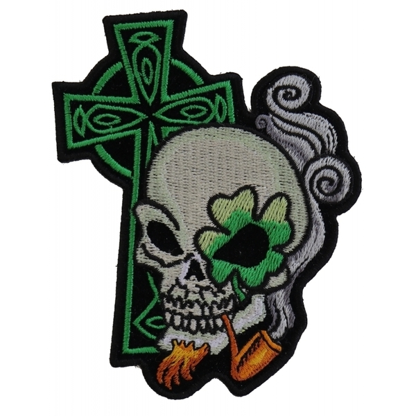P5131 Irish Skull Cross Smoking Pipe Small Patch | Patches