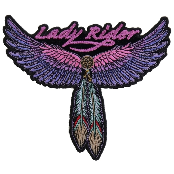 PM3118 Lady Rider Wings and Feather Medium Size Tribal Patch | Patches