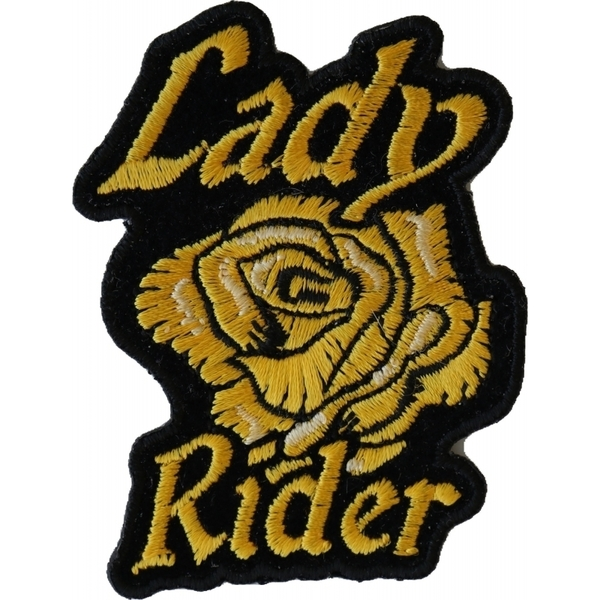 P6656 Lady Rider Yellow Rose Iron on Patch for Lady Bikers | Patches