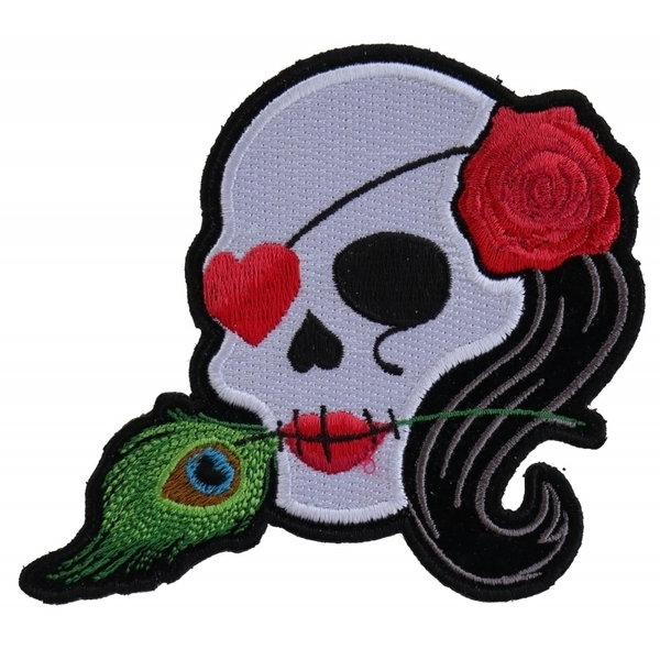 P5145 Lady Sugar Skull With Pink Rose and Feather Small Patch | Patches