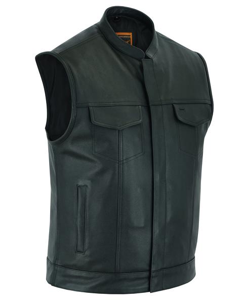Men's Concealed Snap Closure Biker Vest In Black Leather