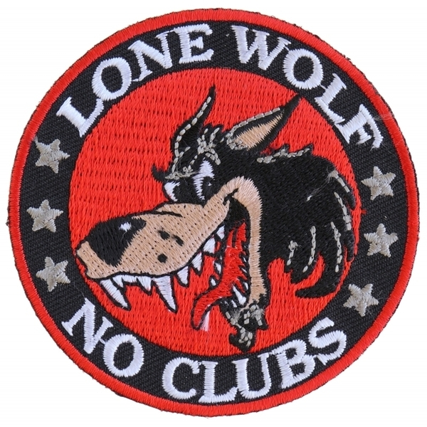 P2949 Lone Wolf No Clubs Biker Patch | Patches