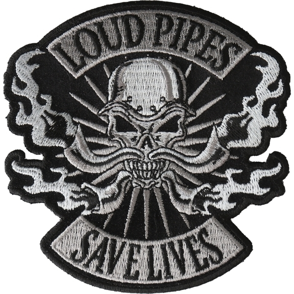P6722 Loud Pipes Save Lives Skull Patch | Patches