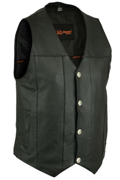 Men's Concealed Carry Biker Vest With Buffalo Nickel Snaps