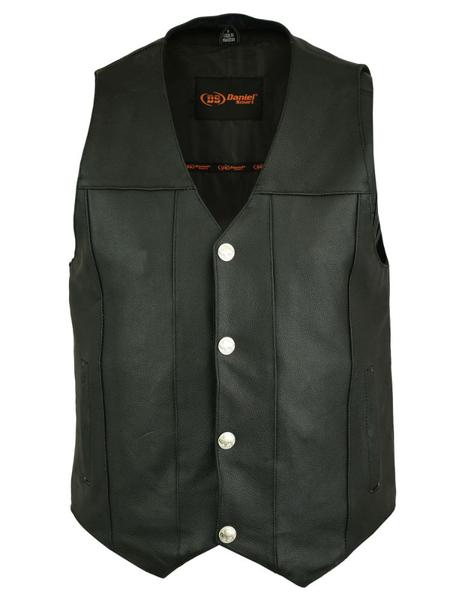 Wholesale Men's Leather Vests   DS141 Men's Plain Side Economy Vest   Daniel Smart Manufacturing