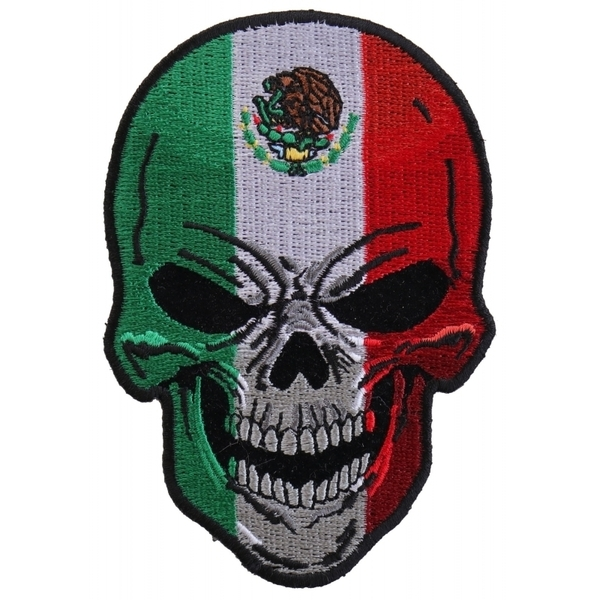 P5665 Mexican Flag Skull Small Patch | Patches