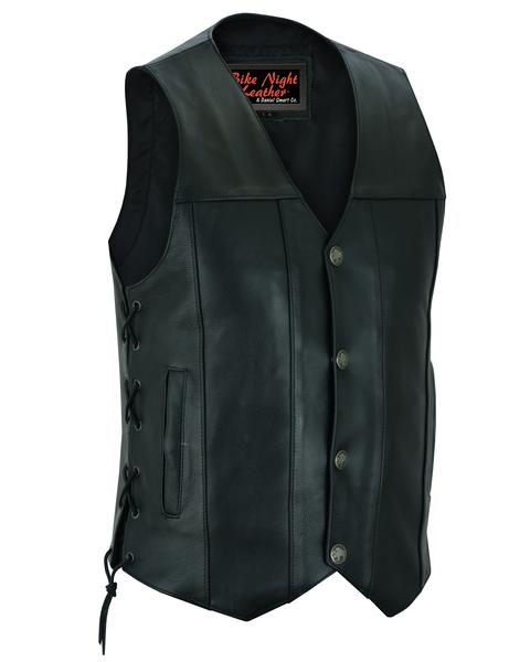 Men's Concealed Carry Biker Vest With Side Lacing Detail