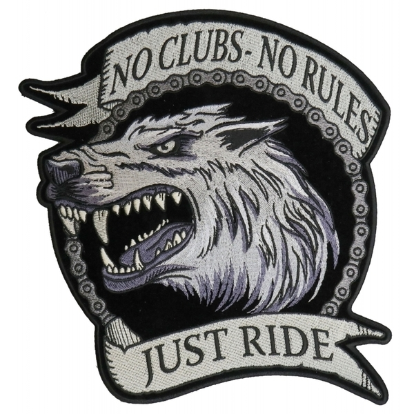 PL6138 No Clubs No Rules Just Ride Wolf Embroidered Iron on Biker Back Patch | Patches