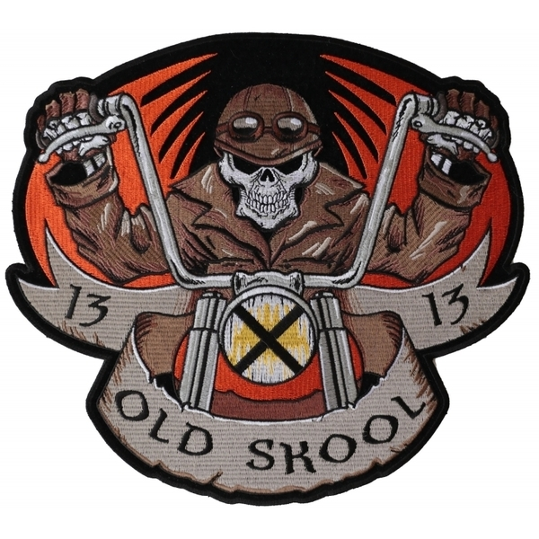 PL6037 Old Skool Motorcycle Skull Embroidered Iron on Biker Patch | Patches
