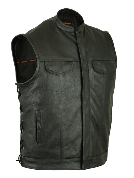 Wholesale Men's Leather Vests | DS192 Concealed Snaps, Premium Naked Cowhide, Collar, Hidden Zipper, Side Laces | Daniel Smart Manufacturing