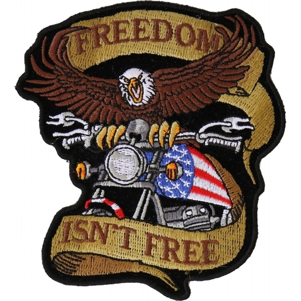 P4967 Patriotic Eagle Biker Small Iron on Patch Freedom Isn't Free | Patches