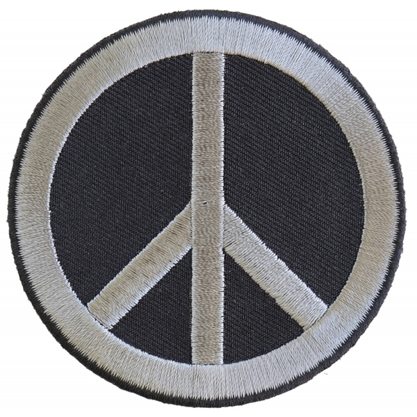 P4871 Peace Sign Patch Gray On Black | Patches